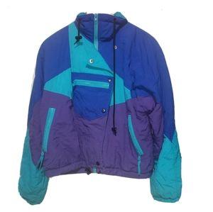 Vintage ski jacket artic express color block blue